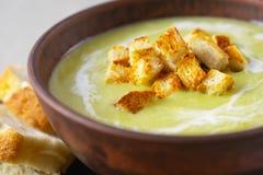 De verse smakelijke soep van de roomspinazie met croutons, gezonde lunch dichte omhooggaand stock afbeelding