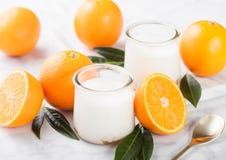 De verse yoghurt van het roomdessert met ruwe sinaasappelen Royalty-vrije Stock Afbeelding