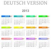 de versie van de 2013 kleurpotlodenkalender deutsch stock illustratie