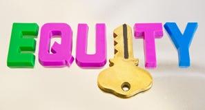 De versie van de gelijkheid: het openen van geld van uw huis. Stock Foto