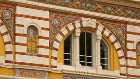 De versieringen van Centraal Mineraal baadt buitenkant in Sofia, watertherapie, gezondheid stock videobeelden
