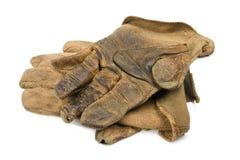 De versleten Handschoenen van het Werk van het Leer stock fotografie