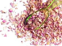 De verspreide bloemblaadjes van thee namen en de groene plastic lepel op witte achtergrond toe Stock Foto