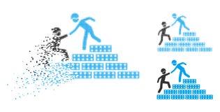De verspreide Halftone Bouwer Stairs Help Icon van Pixelated vector illustratie