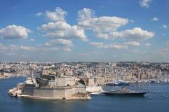 De versterkte stad Valletta, hoofdstad van Malta Stock Fotografie