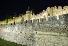 De Versterkte stad van Carcassonne Stock Afbeeldingen