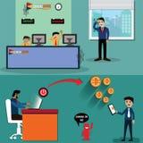 De verstoringstechnologie, Cryptocurrency verandert het bedrijfsmodel van commercieel - vector royalty-vrije illustratie