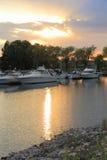 De verticaal van Collingwoodmarina sunset Stock Fotografie