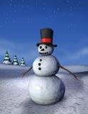 De Verticaal van de Sneeuwman van de nacht stock foto's