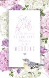 De verticale banner van de hydrangea hortensiavogel Royalty-vrije Stock Foto's