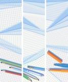 De verticale banners voerden en regelden document liggen op ea Royalty-vrije Stock Afbeeldingen