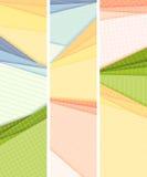 De verticale gevoerd en geregeld banners gekleurd document liggen op elke ot Royalty-vrije Stock Afbeeldingen