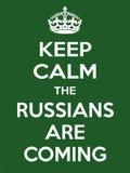 De verticale rechthoekige groen-witte motivatie de Rus is komende affiche Stock Foto's