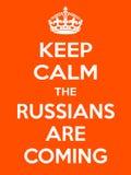 De verticale rechthoekige oranje-witte motivatie de Rus is komende affiche Stock Afbeelding