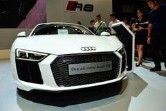 De vertoning van Audi R8 tijdens Singapore Motorshow 2016 Stock Afbeeldingen