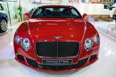 De vertoning van Bentley Motors Continental GT V8 op stadium Royalty-vrije Stock Foto's