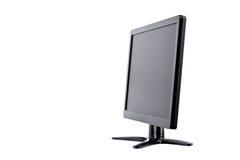 De vertoning van de HOOFDmonitorcomputer van kant op de witte geïsoleerde technologie van de achtergrondhardwaredesktop Royalty-vrije Stock Afbeeldingen