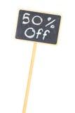 De vertoning van het bord het teken van de 50 percentenverkoop Stock Foto