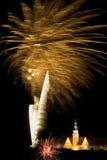 De vertoning van het vuurwerk in Olsztyn   Royalty-vrije Stock Foto's