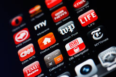 De vertoning van Iphone met inzameling van apps Royalty-vrije Stock Fotografie