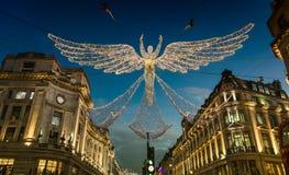 De Vertoning van Kerstmislichten op Regent Street, Londen stock foto