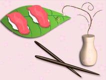 De vertoning van sushi Stock Afbeelding