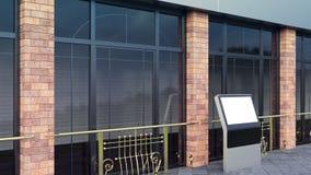 De Vertoningen van de staalinformatie Bannertribunes in uw ontwerp het 3d teruggeven Moderne Grote vensters en baksteenkolommen royalty-vrije stock fotografie