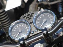 De vertoningsinstrumenten van het motorfietsstreepje met snelheidsmeter en tachometer Royalty-vrije Stock Afbeelding