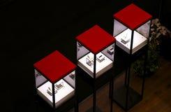 De vertoningsshowcase van het luxehorloge Stock Afbeeldingen