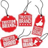 De vertrouwde op reeks van de merkmarkering, vectorillustratie Stock Foto