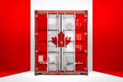 De vervoerende container met de nationale vlag stock foto