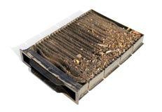 De vervuilde filter van de de luchtkoolstof van de autocabine Stock Fotografie