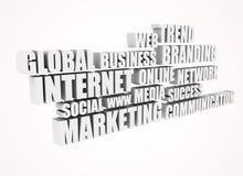 De verwante woorden van Internet markt - 3d tekst stock illustratie