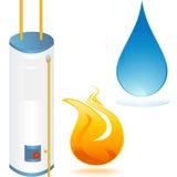 De verwarmer van het water met elementenpictogrammen
