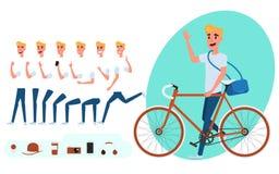 De verwezenlijking van het jonge die mensenkarakter voor animatie wordt geplaatst Jonge mens met fiets Het malplaatje van het del stock illustratie