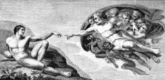 De Verwezenlijking van Michelangelo van de Mens van het plafond van de Sistine-Kapel Stock Afbeeldingen