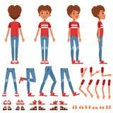 De de verwezenlijkingsreeks van het jongenskarakter, leuke jongensaannemer met verschillend stelt, gebaren, schoenen vectorillust stock illustratie