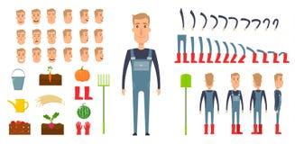 De verwezenlijkingsreeks van het landbouwerskarakter Pictogrammen met verschillende types van gezichten, emoties, kleren Voor, zi Stock Afbeelding