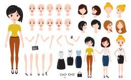 De verwezenlijkingsreeks van het vrouwenkarakter Zelfverzekerde onderneemster, aantrekkelijke hulp, efficiënte winkelbediende, gi Stock Foto's
