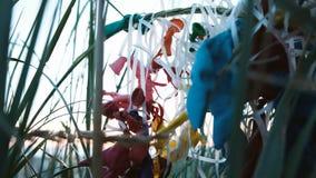 De verworpen ballons zijn geplakt in het gras Ecologie en verontreiniging, huisvuil die op het overzees liggen stock video