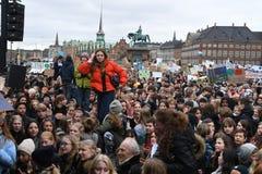 DE VERZAMELING VAN HET KLIMAATVERANDERINGprotest IN KOPENHAGEN DENEMARKEN stock fotografie