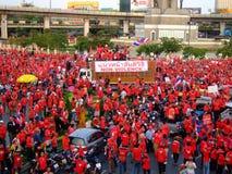 De verzameling van het protest in de overwinningsmonument van Thailand Stock Afbeelding