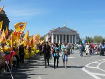 De verzameling van solidariteit van vakbonden op 1 Mei in de stad van Volgograd, Rusland royalty-vrije stock foto's