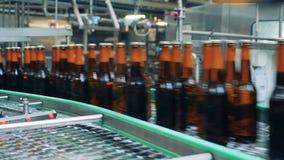 De verzegelde bierflessen die op een transportband gaan, sluiten omhoog stock footage