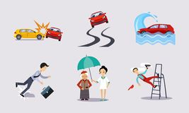 De verzekering en de risico verzekerde gebeurtenissen plaatsen, verkeersongevallen, gezondheid en het levensbeschermings vectoril stock illustratie
