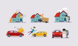 De verzekering en de risico verzekerde gebeurtenissen plaatsen, verkeersongevallen, de vectorillustratie van de bezitsbescherming vector illustratie