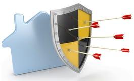 De verzekering van het veiligheidsschild beschermt huisrisico Stock Afbeeldingen