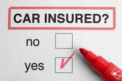 De verzekeringsconcept van de auto Gevoelde Pen Stock Fotografie