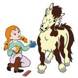 De verzorgende poney van het meisje Royalty-vrije Stock Foto