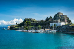 De vesting in de stad van Korfu, Griekenland Stock Foto